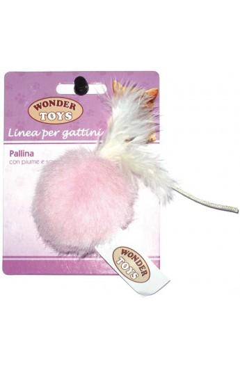 Pallina con piume e sonaglio per gattino Wonder Toys
