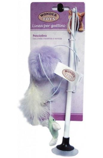 Pesciolino bacchetta interattiva a ventosa per gattino Wonder Toys